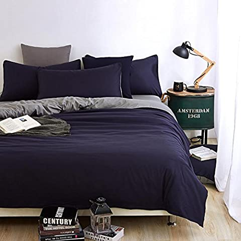 NHsunray Simple Reversible Plain Duvet Cover Set with 2 Pillowcases and Flat Sheet Reactive Dying Polyester, Queen Size, Khaki/Grey
