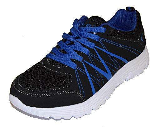 tmy 6207–11Chaussures de sport pour femme et homme, couleur noir/bleu taille: 36–46 Multicolore - Schwarz/ Blau