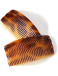2 x Einsteckkamm ca. 8,5 x 4,4 cm havanna-braun Wellenzahn Steckkamm Made in France