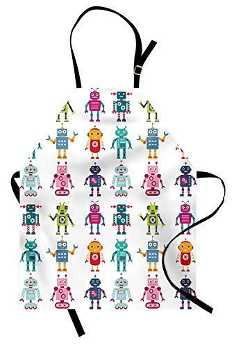Kindergarten-Schürze, bunte Cartoon-Stil-Roboter-Figuren futuristische lustige Maskottchen freundliche Androiden, Unisex-Küche Latzschürze mit verstellbarem Hals zum Kochen Backen Gartenarbeit, Mehrfa