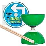 Diabolo Carrousel Vert a Roulement à Bille, avec Diablo Baguettes en Bois, Ficelle Pro et DVD !