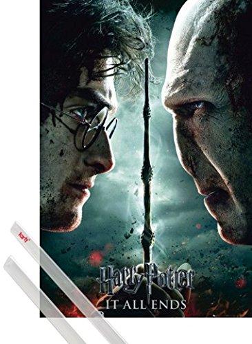 Póster + Soporte: Harry Potter Póster (91x61 cm) 7 Parte 2, Todo Acaba Y 1 Lote De 2 Varillas Transparentes 1art1®