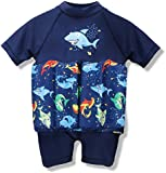 One-piece Kids Baby Boy Girl Floating Buoyancy Swimsuit Swimwear Float Suit Floating Swim Trainer with Cute Shark Print