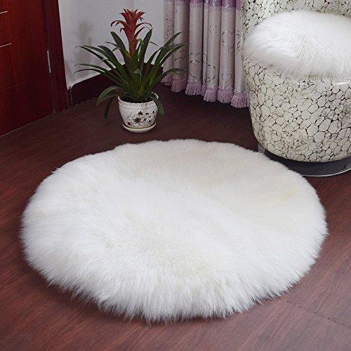 Spitzenqualität Lammfellimitat Teppich,KAIHONG 30 x 30 cm Lammfellimitat Teppich Longhair Fell Optik Nachahmung Wolle Bettvorleger Sofa Matte (Rundes Weiß, 30 x 30 cm)