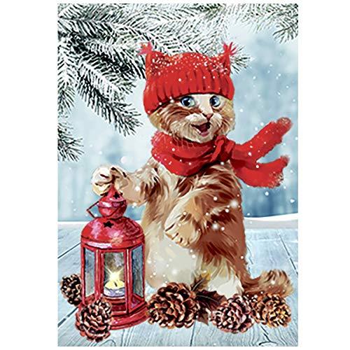 Odeletqweenry OHLEN Gartenflagge Wintermärchen Lustige Katze Kätzchen Stechpalme doppelseitig Hausflagge 31,5x45,7 cm Gartenflagge Weihnachtsbaum Deko Hof Flagge - Lustige Kätzchen