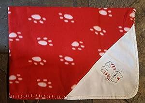 Pawsforcetm pour animal domestique en polaire couverture, couvre-lit ou Coque pour chien ou chat Lit canapé, Rouge et blanc Motif Festive de Noël, 76cm x 75cm