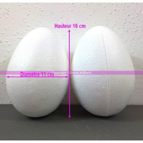 Lotto di 2uova polistirolo di 16cm di alto, separabili, Espanso Bianco densità superiore