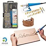 Asigo Set per pirografia su legno, cuoio e sughero | Pirografo e saldatore professionale 30 W / 230 V | Kit di 24 pezzi con base di appoggio