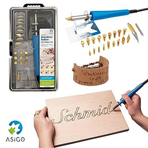 asigo Kit Pyrograveur V224pièces professionnel, combustion Peter, combustion Piston pour pyrogravure, Kit de bricolage