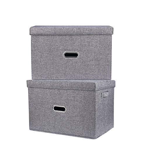 FAMLOVE 2 Stück groß Faltbarer Aufbewahrungsbehälter mit Deckel, Aufbewahrungskorb Quadratischer Leinenbehälter aus Baumwolle mit abnehmbarem Deckel und Griffen für Kleidung Handtücher Spielzeug