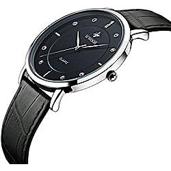 Herren Luxus Marke Ultra Dünn Full echtes Leder Uhr Stecker Wasserdicht Casual Sport Armbanduhr Schwarz