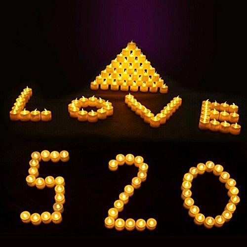 Zehui - Lote de 12 velas LED con efecto parpadeante (funcionan con pilas)