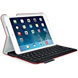 Logitech - Folio Ultra Delgado con Teclado para iPad Mini modelos 1,2 y 3(Español/QWERTY), color Rojo