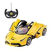PETRLOY Nuevo Supercar amarillo Modelo RC Coche 1:14 Escala Eléctrica 2.4 GHz Control remoto cargable con faros de alta velocidad Drift Racing Juego Control remoto Coche de juguete R/C Vehículo para