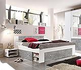 lifestyle4living Bett, Schlafbett, Kojenbett, Schlafzimmerbett, Doppelbett, 140x200, Beton, Grau, Weiß