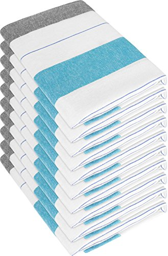 10 x Halbleinen Geschirrtücher, Geschirrtuch, Küchentuch, Abtrocktuch waschbar bis 60° C Farbe New/Blue
