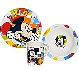 alles-meine.de GmbH 3 tlg. Geschirrset -  Disney - Mickey Mouse  - Porzellan Keramik Trinktasse Kind Kinder - Frühstücksset / Kindergeschirr Geschirr für Kinder - Micky Playhouse - Eßlerngeschirr