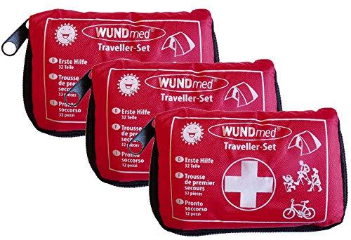 3 Stück Wundmed Erste Hilfe Set 32-teilig in praktische Etui mit Gürtelschlaufe