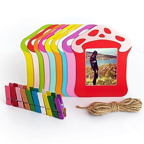 Woodmin 3- pouces Colorful Décor Wall Hanging Cadre combiné pour Instax Mini / Pringo p231 / SP 1 / Polaroid PIC-300P / Polaroid Z2300 Films (Champignon)