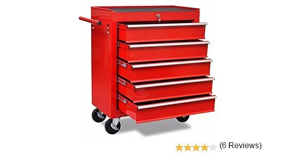 vidaXL Chariot à Outils Atelier 10 Tiroirs Acier Rouge Caisse à Roulettes