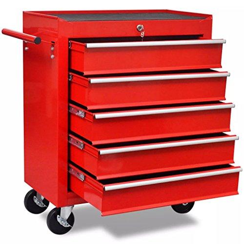 VidaXL Carrito Herramientas 5 Cajones Acero Rojo Caja