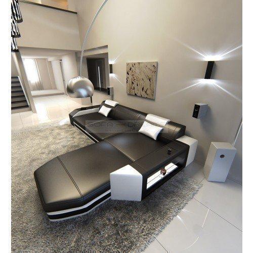Canapé en cuir Prato l-forme noir blanc Canapé d'angle design