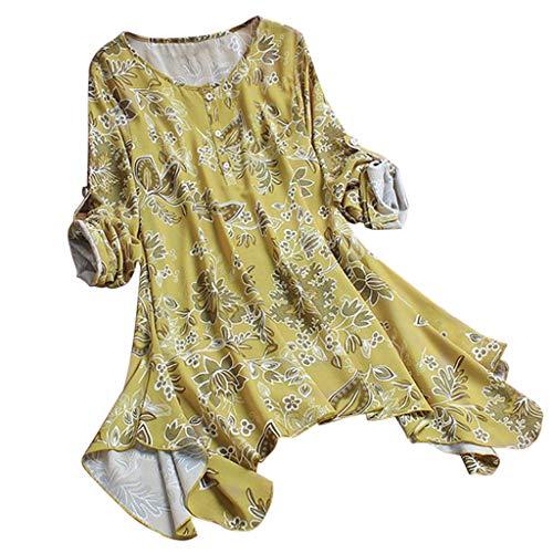Zegeey Damen T-Shirt GroßE GrößEn Blumenfarbe Kurzarm Rundhals Shirts Bluse Top Oberteil Baumwoll Leinen Tunika Schicker Elegant LäSsige Lose(X7-Gelb,EU-44/CN-2XL)
