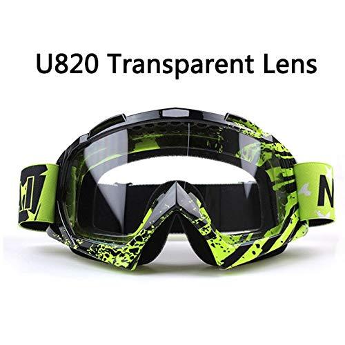 KOMNY New Goggle UV Protection Stripe Gafas Moto Occhiali Moto Occhiali Occhiali Sci Cross Country Occhiali Dirt Bike Bici, U820 T