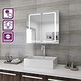 sunnyshowers LED Spiegelschrank Hochglanz Badezimmerspiegel - Badschrank mit Beleuchtung