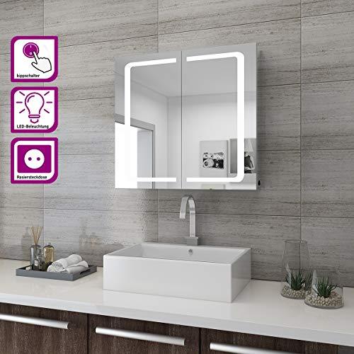 sunnyshowers LED Spiegelschrank 2türig 70 x 65 x13cm Badezimmerspiegel wandschrank Badschrank mit Beleuchtung mit Steckdose -