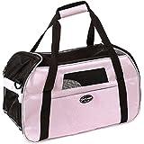 Kaka mall Transporttasche für Katzen Hunde Comfort Fluggesellschaft zugelassen Travel Tote Weiche Seiten Tasche für Haustiere(L,Pink)