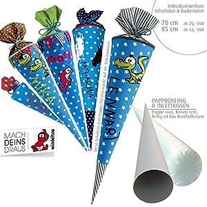 Schultüte, Zuckertüte in 70 cm oder 85 cm, türkis große Sterne inklusive Papprohling mit vielen Personalisierungsmöglicheiten, als Kuschelkissen weiter nutzbar