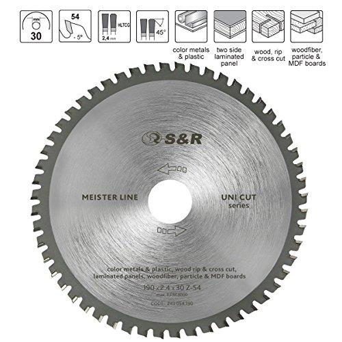 S&R hoja de sierra circular 190x30x2,4mm 54T de múltiples materiales, Uni Cut