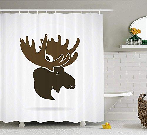 OuopBgbkkjn Elch Duschvorhang Hirschkopf Kanadischen Heiligen Nordwildnis Säugetiere Jagd Grafik Stoff Badezimmer Dekor Set mit Armee Grün (Elch-jagd-dekor)