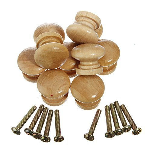 �belknöpfe Holz Tür Schubladengriffe Runde Holzknöpfe Natürliche Holzgriff Runde Knöpfe Zieht Griffe mit Schraube für Montage an Schubladen und Schranktüren ()