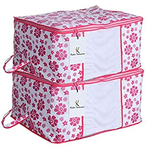 Kuber Industries™ Underbed Storage Bag,Storage Organiser,Blanket Cover Set of 2 Pcs - Pink Flower Design (Extra Large Size) Code-UNDPL07