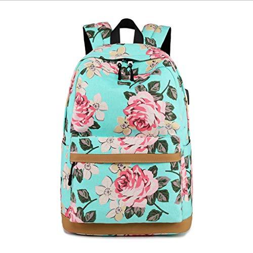 LCTCBB Mode Rucksack Schultasche Kollektion Wandern Tasche für Teenager Schulrucksack Floral Mädchen Primäre Junior High School Schultasche Bookbag Rucksack (Farbe : Green) - Florale Kollektion