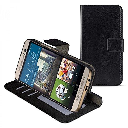 eFabrik Schutzhülle für HTC One M9 und HTC One M9 Prime Camera Edition Schutz Tasche (M9) Bookstyle Case aus Kunstleder, schwarz