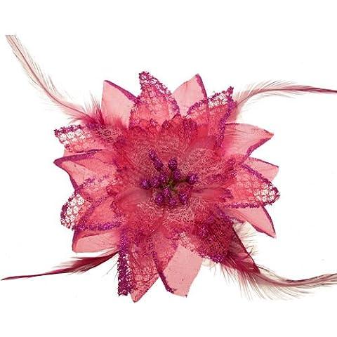 Acosta, colore: rosa fucsia Glitter & piuma, motivo: giglio con perle in tessuto-Spilla a Clip, capelli, accessorio alla moda