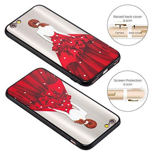 Cover iPhone 6 Plus (5.5 pollici) Case iPhone 6S Plus Custodia Spiritsun Moda Ultraslim TPU Case Elegante Carina Souple Flessibile Morbido Silicone Copertura Perfetta Protezione Shell Paraurti Custodi Vestito Rosso Perla