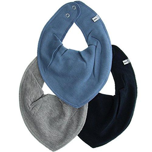 Pippi 3er Pack Baby Jungen Halstuch, Farbe: Blau und Grau, One Size, 4449