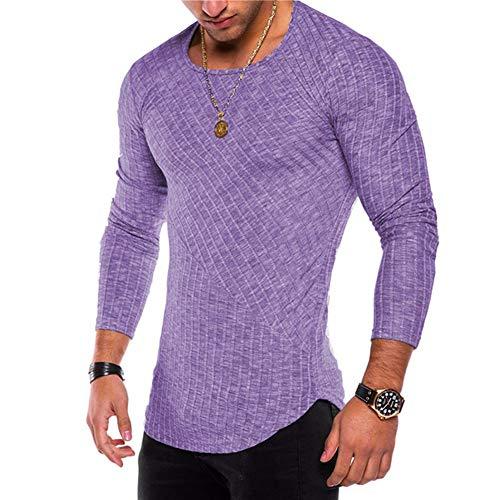OGOUGUAN Herren Hipster Sweatshirt Swag Hip Hop Shirts O Neck Side Split Arc Shaped Hem - Violett - XX-Large -