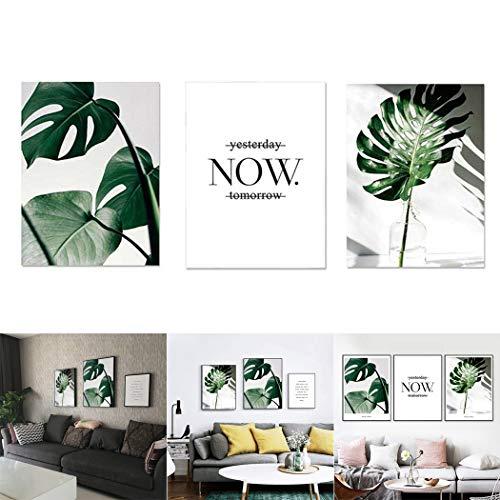 JUSTDOLIFE 3 Piezas Pintura Mural Conjunto Hojas Tropicales Pinturas para Colgar En La Pared para Decoración