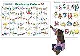 Mein buntes Kinder-ABC + Meine tierischen Zahlen von 1-20: 2 Lernposter, gerollt, abwaschbar + UV-Lack beschichtet