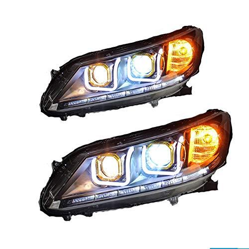 2 Stück Scheinwerfer für Accord 2013-2015 Bi-Xenon Linse Projektor Doppellicht Xenon HID Kit mit LED Tagfahrlicht