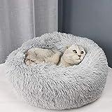 Queta Katzenbett Schöne Tierbett, Klein Hund Bett Haustierbett Plüsch Weich Runden Katze Schlafen Bett 50cm Durchmesser (Hellgrau)