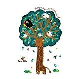 decalmile Girafe Arbre Stickers Muraux Animaux Oiseau Enfants Autocollant Décoration Murale pour Chambre Enfants Bébé Pépinière