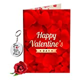 #2: Sky Trends Valentine Gift For Boy Lovely Greeting Card Keychain With Artificial Rose Best Gift For Boyfriend