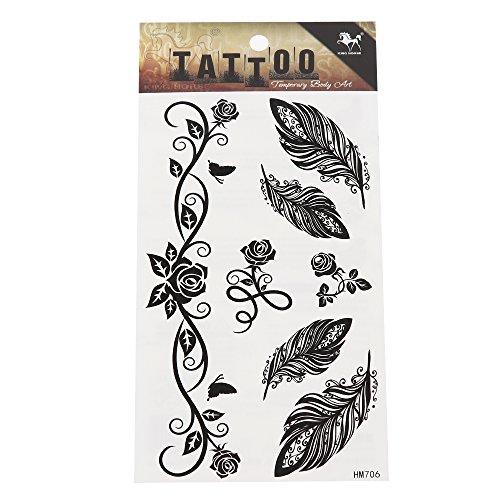 Preisvergleich Produktbild Tattoo schwarz Tribal Muster Rosen Ranken Federn temporär Klebetattoos