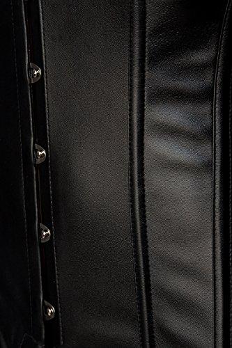 Schwarze Corsage in Lederoptik mit Rockteil lang und Schnürung sowie Ösenverschluss in Wetlook Optik Corsagenkleid Schwarz